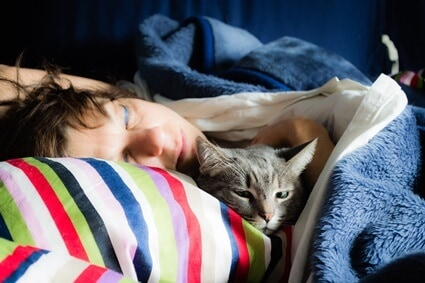 why do cats smell your breath while you sleep?